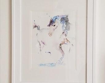 Original watercolor running horse