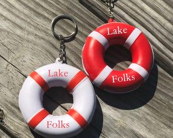 Lake Folks Floating Lifesaver Keychain