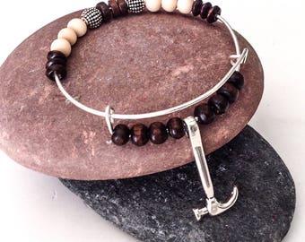 Carpenter Bracelet, Handyman bracelet, Hammer bracelet, Woodworker gift, Handyman gift, Carpenter gift, Men's thank you gift, Boyfriend gift