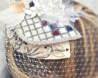 Wedding Hat with Blusher / Ivory Hat with Blusher / Wedding Hat with Birdcage Veil / Bridal Hat with Birdcage Veil / Bridal Hat with Blusher