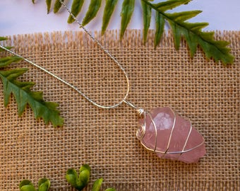 Rose Quartz | Silver Wire Wrapped Necklace