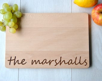 Family Name Cutting Board Personalized Custom Cutting Board Wedding Gift Cutting Board Engraved Anniversary Cutting Board Christmas Gift
