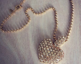 Gold Rhinestone Heart Necklace