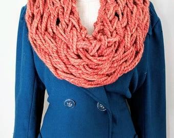 Orange Red Infinity Scarf | Blood Orange Scarf | Orange Arm Knit Scarf | Red Orange Arm Knit | Gifts for Friend | Winter Scarves |