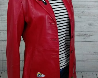 Red Leather Jacket with Patches. Red leather Blazer. Women's. Size 10
