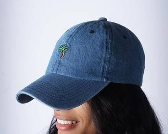 No Worries Palm Tree polo dad hat, blue denim-cap polo baseball NEW low profile