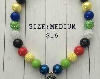 Mulan Bubblegum Necklace, bubblegum beads, princess, little girl jewelry, gift
