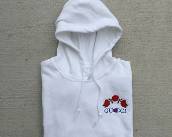 OKAY ABSOLUTELY Champion Hoodie in white with artwork on back & sleeve detailing 3qeJb9OYQ