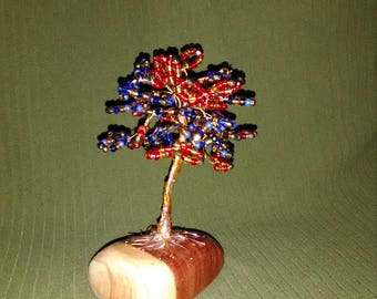 Red & Blue beaded wire tree