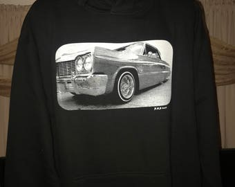 1964 Chevrolet Impala SS Silk Screen Lowrider Hoodie