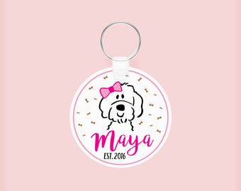 Custom Doodle Keychain (Girl or Boy), Personalized Goldendoodle  Keychain, Pet owner, personalized gift for pet lovers, friends, family