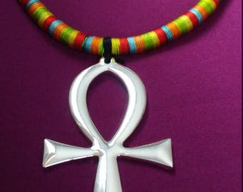 Green & Silver Ankh Necklace
