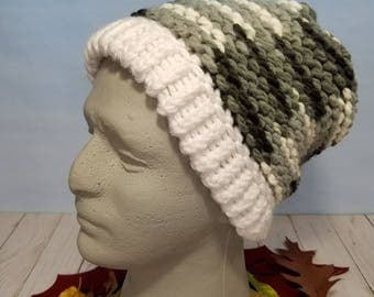 Hand Knit Hat, Beanie, Slouchy- White and Black