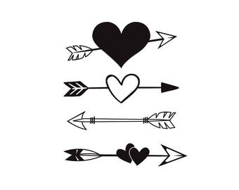 Arrow Clip Art With Heart In The Middle Clipart Vector Design