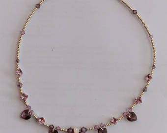Necklace Swarovski Crystal hearts old pink adjustable lead and nickel free