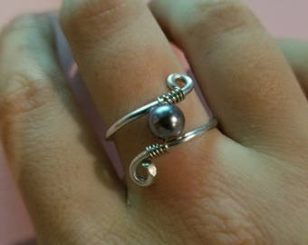 Wire Black Pearl Ring