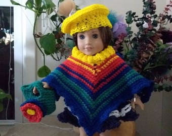 crochet 18 in doll poncho, purse & beret