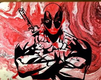 OOAK Deadpool Acrylic Abstract Painting