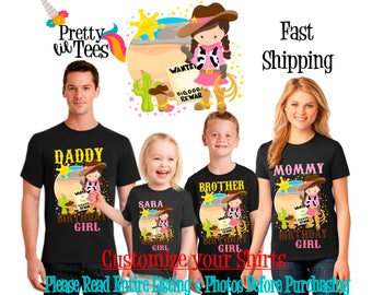COWGIRL Birthday Girl Theme Family BLACK Shirts For the Entire Family Mom Dad Brother and More Tshirts Long/Short sleeve Crown horse sheriff