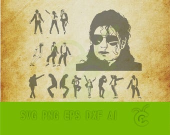 Michael Jackson SVG Pack / Michael Jackson silhouette / files for Silhouette / Michael Jackson Svg,png,dxf / Clipart / Printable / Art