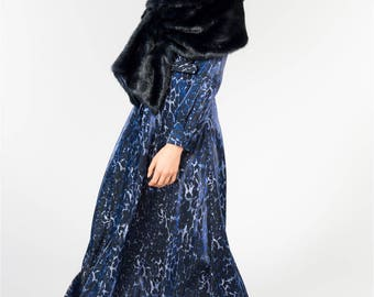 Blue Leopard Belted Maxi Dress