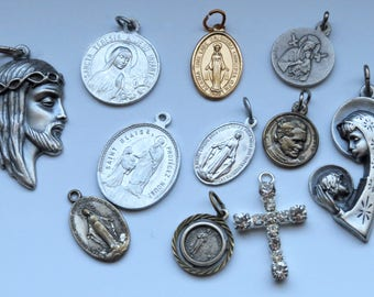 Lot of 10 old religious medal pendants. Jesus Christ and Our Lady