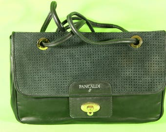 Leather shoulder bag and pa fabric
