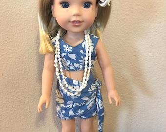 Wellie Wisher Hawaiian Pareau and Shorts - Periwinkle Blue