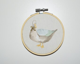 Embroidery Hoop - Birthday gift - Duck art- Baby Present - Bow embroidery - Handmade - Duck gift - Personalised art - Housewarming
