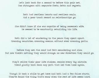 Bespoke, Personalised Wedding Poem/Reading by Email - 20 Lines