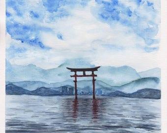 Original watercolor painting-Torii Gate Hiroshima, Japan