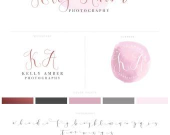 Watercolour Logo, Rose Gold Logo, Photography Logo & Watermark, Logo Design, Blog Header, Branding Kit