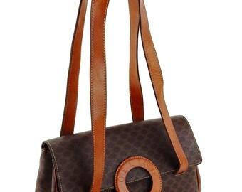Authentic Vintage Céline Vintage Brown Macadam Canvas Leather Shoulder Bag Italy