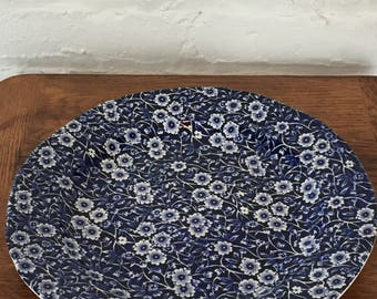 """Calico Blue 10.5"""" Dinner Plate - Royal Crownford Staffordshire England"""