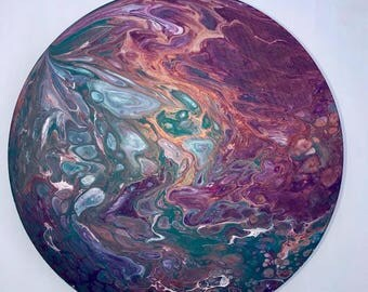 Original Abstract Painting - Acrylic fluid flow art (Round - Copper/Purple/Teal/White)