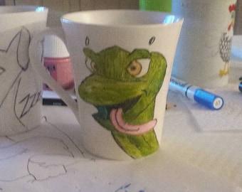 Snake custom mug, hand painted