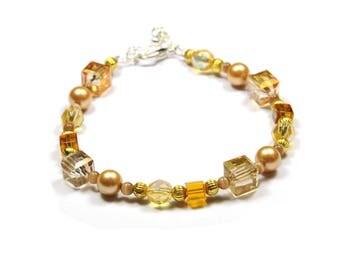 Bracelet Crystal cube beads faceted copper-honey