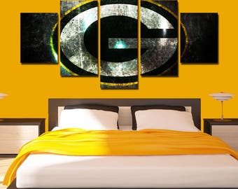 Green Bay Packers Canvas Art Packers Poster Print 5 Panel Home Art Wall  Decor Wall Art