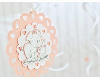 Shower elephant idea, baby girl shower elephant decorations, white, wall hangings, swirly, baby girl, elephant, personalized, decorations