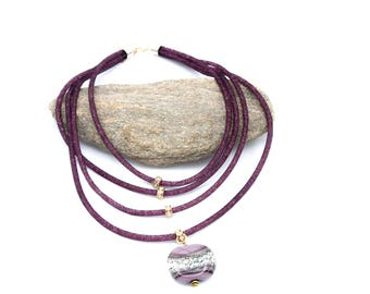 Necklace glass Murano purple and ivory flat bead.