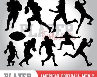 American Football player SVG, american football silhouette,printable clipart,svg cut file and editable,studio & cricut,vector digita,A-002