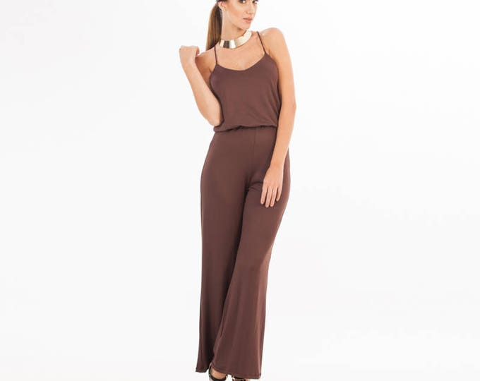 Brown Jumpsuit Sleeveless - Brown Overalls - Jumpsuit - Jumpsuit - Chocolate Brown Outfit - Brown Clothing - One Piece - Classic Pants