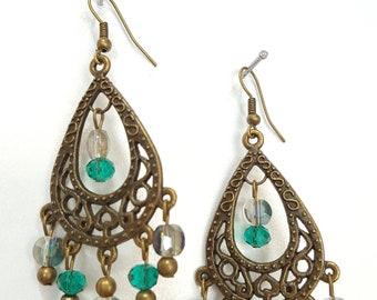 Antique Style Teal Chandelier Earrings