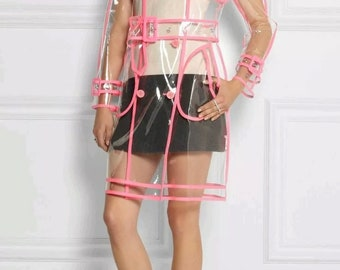Transparent PVC Clear Tranch Coat with Pink Trim. Woman's Waterproof Coat. Free shipping!!