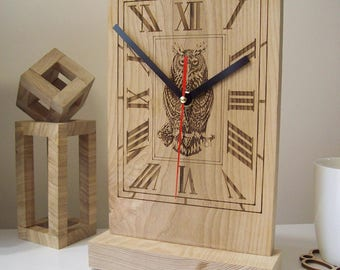 Modern wooden desk clock Owl - Keeper of Time and others: Wooden desk clock interior decor gift idea