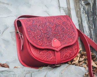 Red messenger bag, big leather purse, hot tooled purse, red crossbody bag, red shoulder bag, capacious leather bag, bag with animals