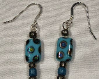 Turquoise Czech glass beaded earrings