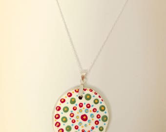 Folk art hand-painted necklace