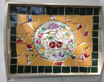 Fruit Motif Broken China Mosaic Tray