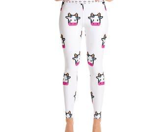 Cow Print Yoga Leggings - Womens Leggings - Adult Leggings - Ladies Leggings - Fun Print Leggings - Cows